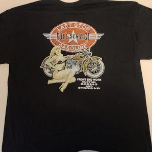 mens xl black pinup biker tee motorcycle Harley
